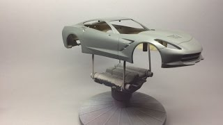 Revell: Corvette C7 Stingray Prepping painting and detailing the body