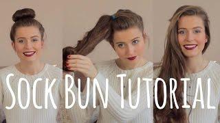getlinkyoutube.com-Curl your hair without heat! Sock Bun Tutorial | Ellesse