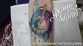getlinkyoutube.com-Relogio aquarela (Clock WaterColor Tattoo) Time Lapse - Danny Tattoo