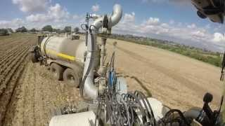 P & R Burbage Agricultural Contractors drilling Oil Seed Rape into Wheat stubble while injecting digestate using Major Equipment Slurry Tanker