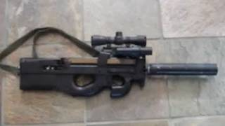 getlinkyoutube.com-Ruger 10/22 .22LR Rifle Mounted in Custom FN P90 (airsoft!) stock