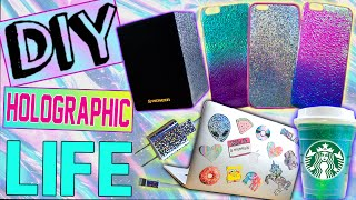 getlinkyoutube.com-DIY Holographic iPhone Cases! | Holographic Starbucks Cup! | DIY Laptop Stickers | iPhone Charger!