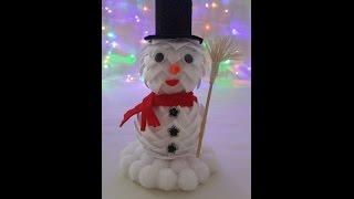 getlinkyoutube.com-Jak zrobić bałwana ze wstążki (karczoch) - Ozdoby Świąteczne