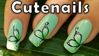 getlinkyoutube.com-How to : butterfly nail art design by Cute Nails