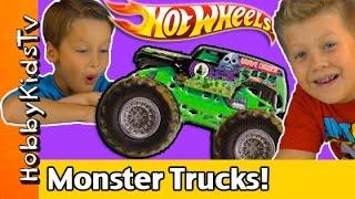Hot Wheels Monster Truck Mega Track! HobbyTiger Toy Open + Review HobbyKidsTV