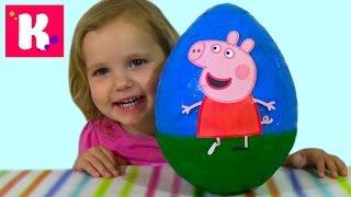 getlinkyoutube.com-Свинка Пеппа большое яйцо с сюрпризом открываем игрушки Giant surprise egg Peppa pig toys
