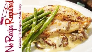getlinkyoutube.com-Chicken Breast with Mushroom Cream Sauce - NoRecipeRequired.com
