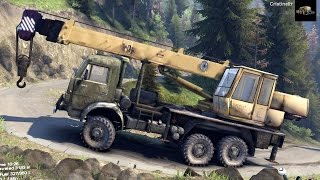 getlinkyoutube.com-SPINTIRES 2014 - The Hill Map - Kamaz Crane Rescuing a ZIL Truck on a Hill