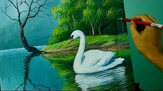 getlinkyoutube.com-Acrylic Landscape Painting Lesson - The Swan in the Lake by JM Lisondra