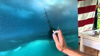 getlinkyoutube.com-Best lesson. How to paint storm on the sea. How to paint sea waves