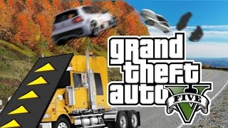 getlinkyoutube.com-GTA5 자동차 앞에 경사로를 달아 다른차들을 날려보았다 - GTA5 INSANE RAMP TRUCK MOD : [우왁굳]