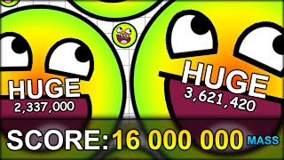 getlinkyoutube.com-WORLD RECORD 16,000,000 MASS HUGE CELL (16 MILLION!) THE BIGGEST CELL EVER! (AGAR.IO #45)
