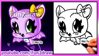 getlinkyoutube.com-How to Draw Halloween Stuff - CUTE Bat - Draw Easy Things Best Fun2draw Art Drawings