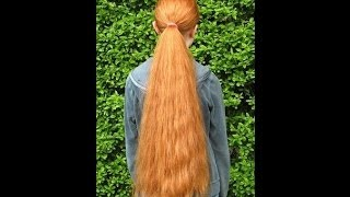 getlinkyoutube.com-haircut on really long and thick red hair all cut off to a bob style