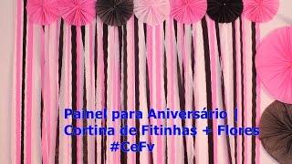 getlinkyoutube.com-Painel para Aniversário   Cortina de Fitinhas + Flores   #CeFv
