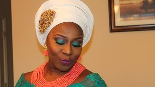 getlinkyoutube.com-TINY PLEATS ASO OKE GELE AND PARTY MAKEUP