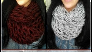 getlinkyoutube.com-DIY Arm Knitting - 30 Minute Infinity Scarf