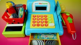getlinkyoutube.com-Just Like Home Electronic Toy Cash Register Playset by Toys R Us