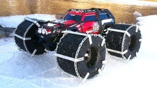 getlinkyoutube.com-RC ADVENTURES - FLOATiNG TRAXXAS SUMMiT - iCE Chains & Floating RC TiRES