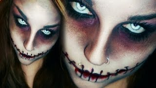 getlinkyoutube.com-Last minute! EASY HORROR / ZOMBIE HALLOWEEN / KARNEVAL MAKE-UP CHELSEA SMILE ZUGENÄHT