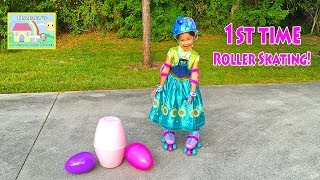 getlinkyoutube.com-FROZEN ANNA LEARNS TO ROLLER SKATE Opening Disney Surprise Eggs Toys Elsa Doll Musical Bicycle Toy