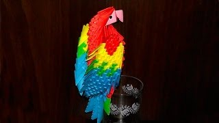 3D origami macaw parrot tutorial (instruction)