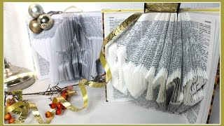 getlinkyoutube.com-DIY BUCH FALTEN I BOOK FOLDING Geschenkidee und Upcycling