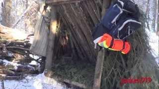getlinkyoutube.com-Leanto Winter Survival Shelter