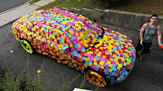 getlinkyoutube.com-STICKY NOTES CAR PRANK