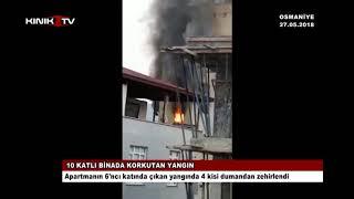 Osmaniye'de 10 Katlı Binada Korkutan Yangın