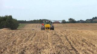 Claydon Hybrid Drill working in Denmark Directly into Stubble with impressive results establishing OSR