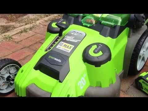 GreenWorks lawnmower review model 25302 Twin Force rechargeable mower.