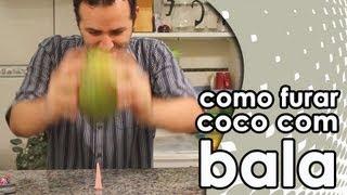 getlinkyoutube.com-Como furar um coco com uma bala 7 Belo (experiência)