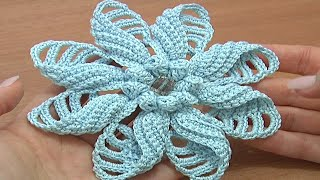 getlinkyoutube.com-Crochet Folded Petal Flower Tutorial 57 Part 1 of 2 Fiori all'Uncinetto con bottoni usati