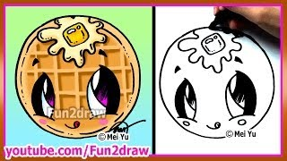getlinkyoutube.com-Cute Food Waffle - How to Draw Cartoons - Fun2draw Kawaii