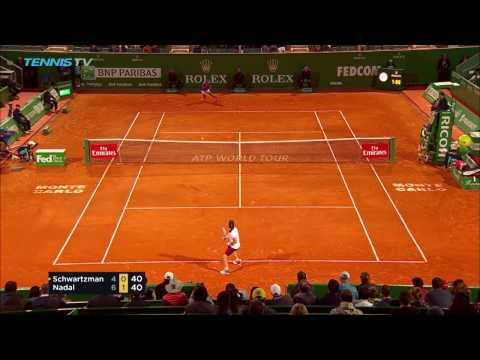 Incredible Nadal forehand shot in quarter-final   Monte-Carlo Rolex Masters 2017 Day 6