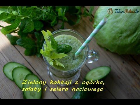 Zielony koktajl z ogórka, sałaty i selera naciowego