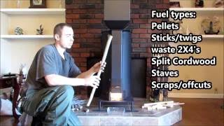getlinkyoutube.com-✔GRAVITY FED NON ELECTRIC PELLET STOVE CAN ALSO BURN WOOD, UL-1482 TESTED ROCKET STOVE HEATER!