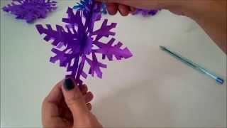 getlinkyoutube.com-Floco Neve 3D de Papel - Especial Decoração Aniversário Frozen