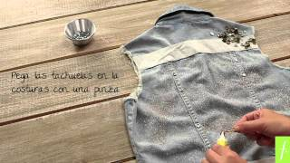 Personaliza Tus Prendas #2: Tutorial Chaleco Denim con aplicaciones, escarcha & tachas