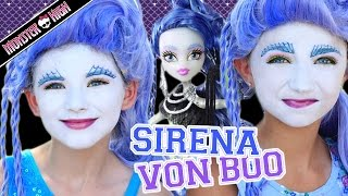getlinkyoutube.com-Monster High Sirena Von Boo Makeup Tutorial! Collab CuteGirlsHairstyles & KITTIESMAMA