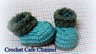 getlinkyoutube.com-Crochet baby booties كروشيه هاف بووت سهل للبيبي - كروشيه كافيه