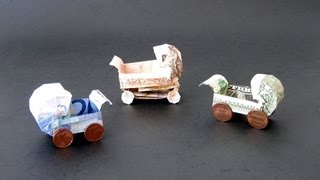 getlinkyoutube.com-Money Origami Instructions: Money Baby Buggy (Dominik Meißner)