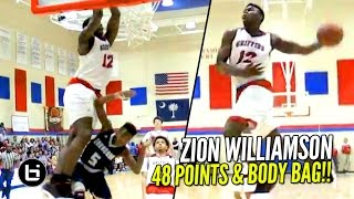 getlinkyoutube.com-Zion Williamson Scores 48 & SONS Defenders!! 2000 Career Points! Full Highlights