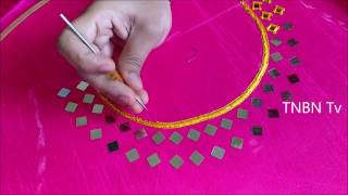 getlinkyoutube.com-hand embroidery tutorial for beginners | mirror work embroidery designs, embroidery stitches
