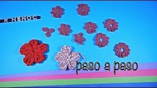 getlinkyoutube.com-Como tejer flor punto alargado ganchillo, crochet easy flower DIY