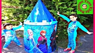 getlinkyoutube.com-Disney Frozen Movie Videos 2016 Castle Tent Surprise Toys Anna Elsa Birthday Picnic Surprise