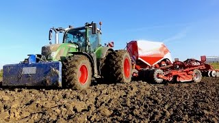 getlinkyoutube.com-Ploughing & drilling wheat | Fendt 936 & 724 + Kverneland u-drill & 7 furrow plough Van Peperstraten