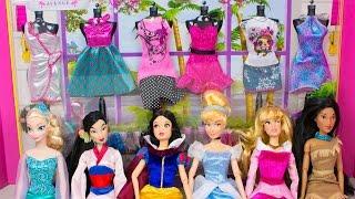 getlinkyoutube.com-Barbie Doll Clothes Disney Princess Dress Up Challenge Frozen Elsa Snow White Cinderella Aurora