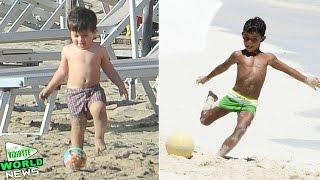 getlinkyoutube.com-Cristiano Ronaldo jr vs Thiago Messi Football Skills